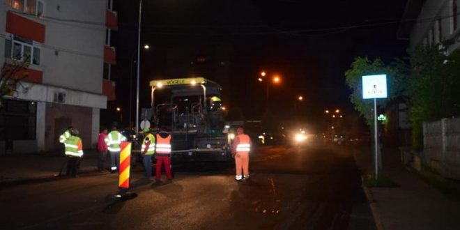foto strada importanta din targu mures asfaltata in aceasta noapte