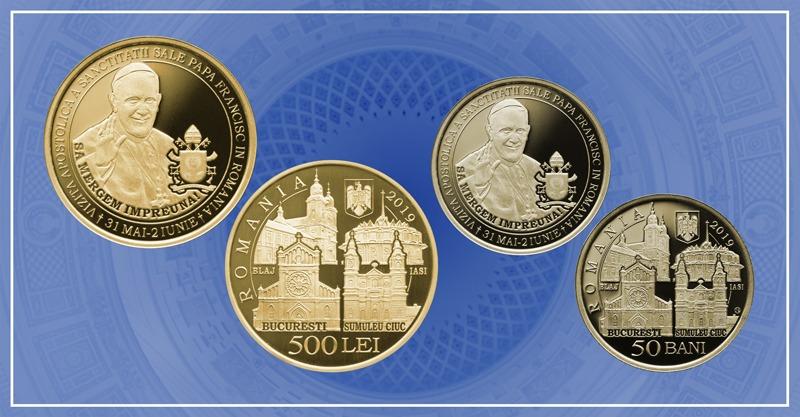 bnr lanseaza o moneda cu tema vizita apostolica a sanctitatii sale papa francisc in romania