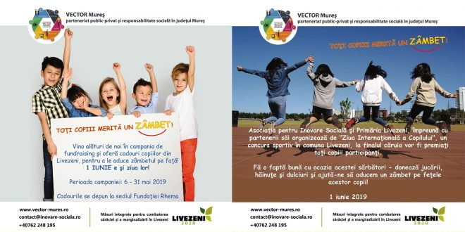 """am-lansat-campania-de-foundraising-pentru-1-iunie-–-ziua-internationala-a-copilului-""""toti-copiii-merita-un-zambet!""""-in-livezeni,-judetul-mures"""