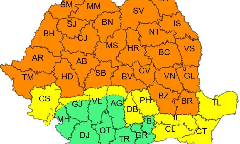 azi administratia nationala de meteorologie a emis o avertizare cod portocaliu