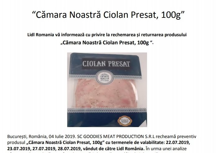 compania lidl retrage de la vanzare un produs dupa ce a fost detectata bacteria salmonella