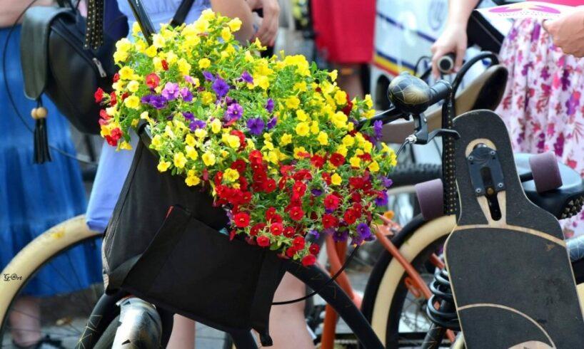 skirt bike cu flori si fuste multicolore