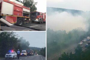 foto incendiu puternic cu degajare mare de fum a afectat traficul pe calea sighisoarei