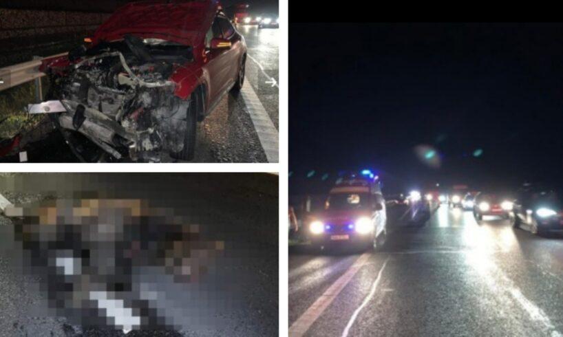 foto doi copii au facut atac de panica dupa ce masina in care se aflau a lovit un urs pe a1