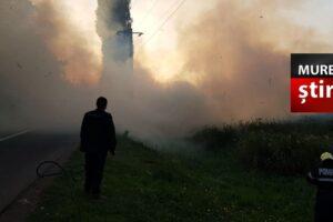 foto.-circulatie-blocata-in-mures,-din-cauza-fumului-gros,-pe-dj-151a!