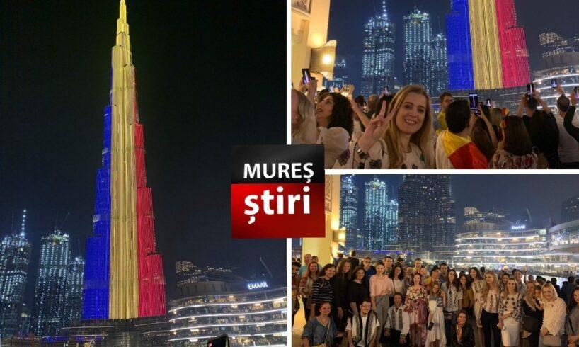 video spectaculos cu cea mai inalta cladire din lume luminata in tricolor