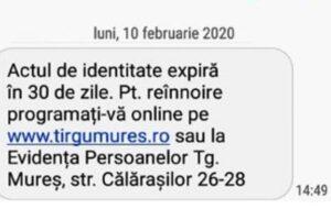 notificari prin sms privind expirarea sau pentru ridicarea actelor de identitate la targu mures