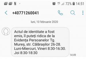 notificare prin sms atat la ridicarea actului de identitate cat si la expirarea termenului de valabilitate