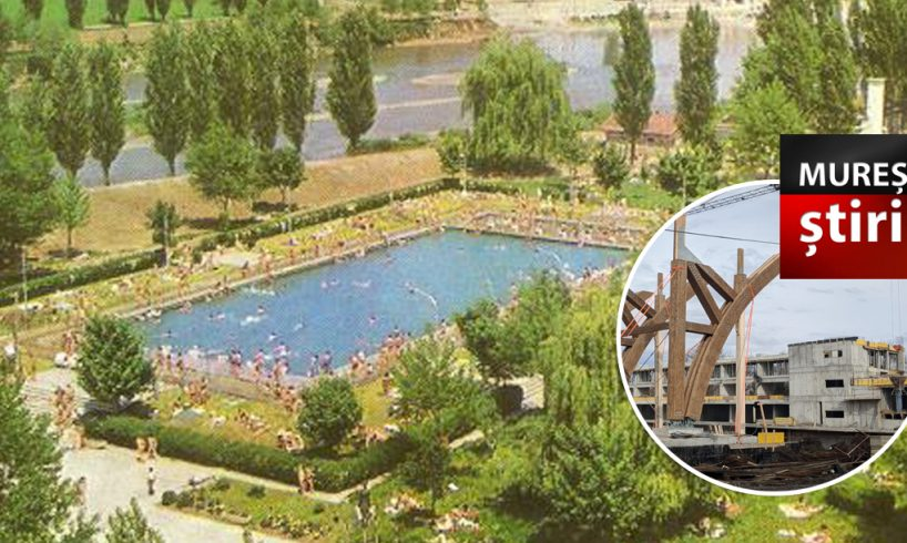 foto stadiul lucrarilor la complexul de natatie construit in locul fostului strand 1 mai