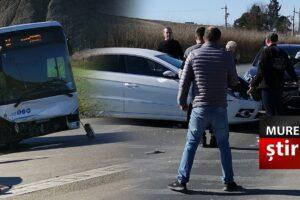 ultima ora accident intre un autobuz si doua masini la iesirea din tirgu mures foto