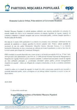 marius pascan presedinte executiv pmp domnule prim ministru ludovic orban anulati ordinul care le interzice prefectilor sa comunice